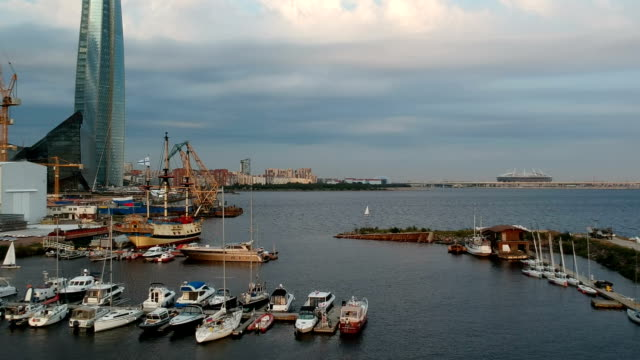 view from drone. st. petersburg lahta center the gulf of finland. - lingua russa video stock e b–roll
