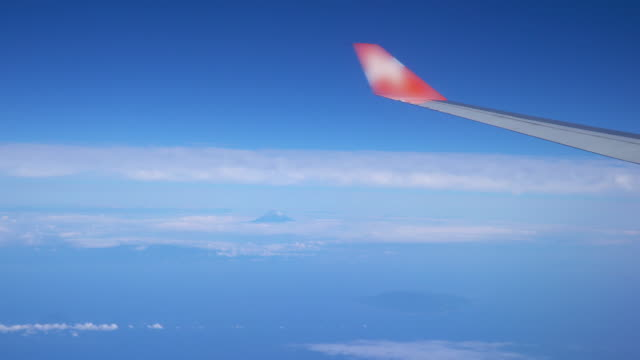 View from flying airplane window seat with aircraft wing.