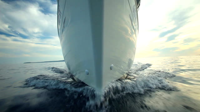 View from front of moving sailing boat video
