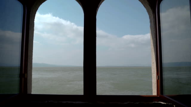 View from Golubac fortress through window on amazing Danube river