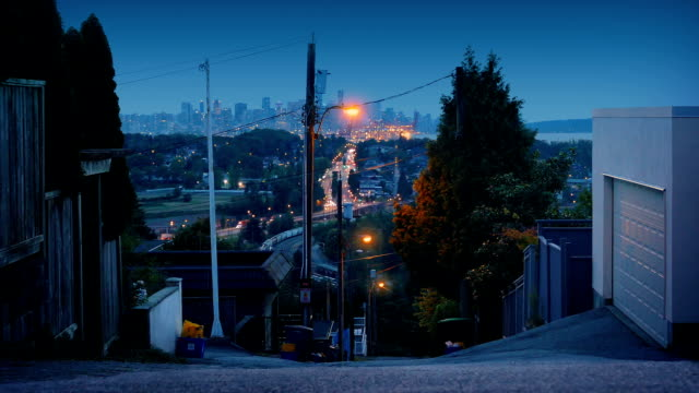 View From Hillside To City In The Evening - vídeo