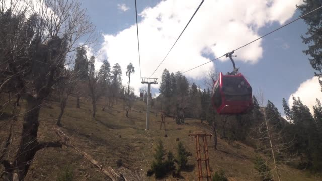 View from inside the cable car cab of Solang Valley at Manali, Himachal Pradesh, India video