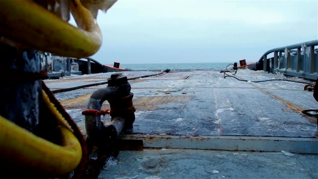 View from ship deck with line on it on ice covered floor, board and calm sea