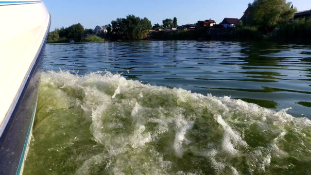 View from speedboat when fast moving over water video
