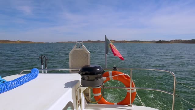 View from Stern Yacht on Water Landscape video