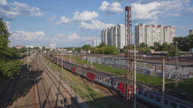 RUSSIA. MOSCOW - 2014: TL View from the bridge on the railroad and trains video