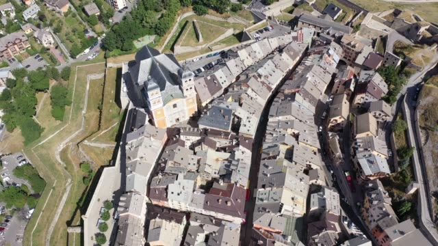 view from the drone on the city briancon - hautes alpes stock videos & royalty-free footage