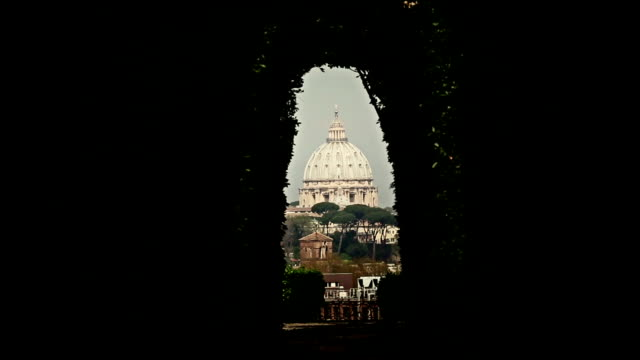 View from the Knights of Malta keyhole in Rome View from the Knights of Malta keyhole in Rome keyhole stock videos & royalty-free footage