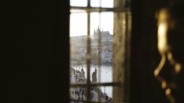 View from the old Tower window of the Charles bridge at sunset