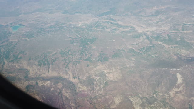 View from the passenger cabin window on the landscape