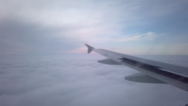 View from the porthole of an airplane. Flying at high altitude over an even layer of clouds. Early morning - vídeo