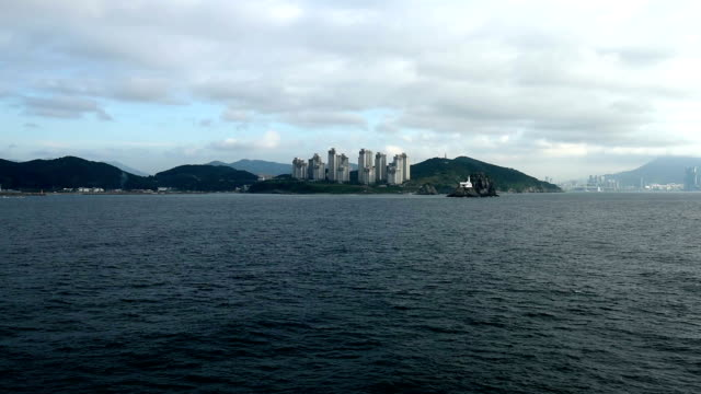 view from the ship which moving toward port of Busan, south Korea video