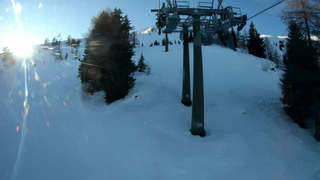 View from the ski lift going up the mountain