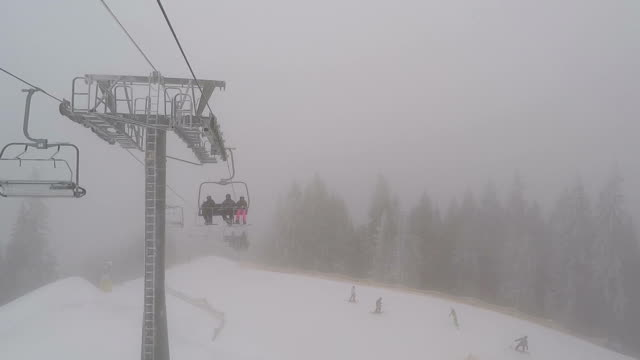 View from the ski lift. Ski trail and ski lift with skiers. video