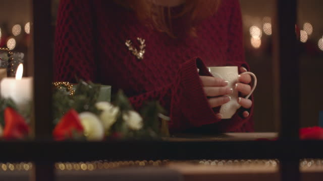 View from the street window. The girl is sitting in front of the window and holding a white mug with a hot drink. View from the street window. The girl is sitting in front of the window and holding a white mug with a hot drink. treedeo christmas stock videos & royalty-free footage