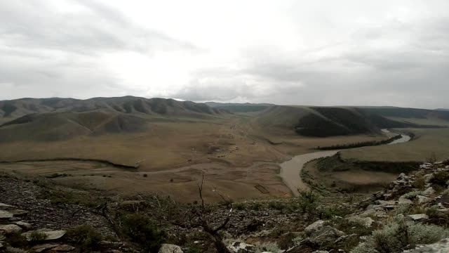 View From The Top of a Small Mountain on The Winding River and the Ridge in the Distance video