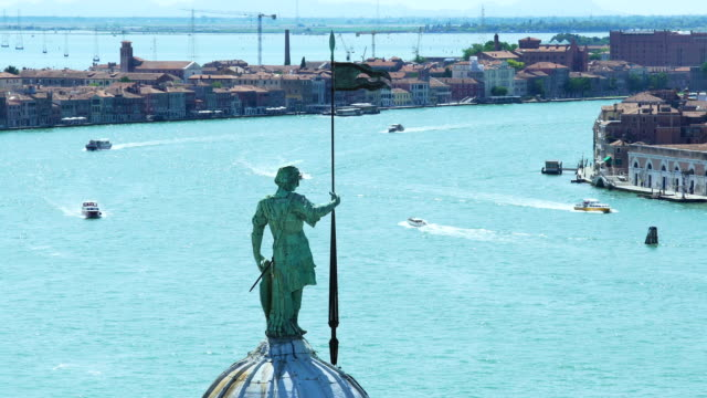 View from top of San Giorgio Maggiore cathedral at Grand Canal, monument video