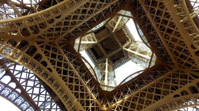 View from under the Eiffel tower to metal construction in Paris