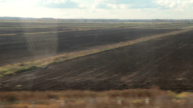 View from window of passenger train video