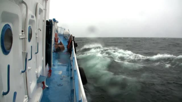 View from window on ship deck in storm and rain in bad weather on Lake Baikal.