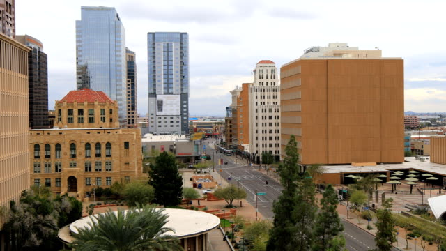 View looking down on Phoenix, Arizona downtown video
