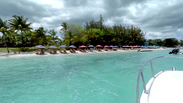 view of a beach and crystal clear waters on a sunny day, mauritius , indian ocean - turchese blu video stock e b–roll