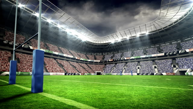 View of a rugby stadium in night View of a rugby stadium in night during world cup rugby stock videos & royalty-free footage