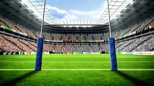 View of a rugby stadium with sunny weather View of a rugby stadium with sunny weather during world cup rugby stock videos & royalty-free footage
