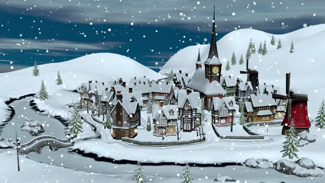 View of a small town or village on a winter night at Christmas. Christmas and New Year concept.