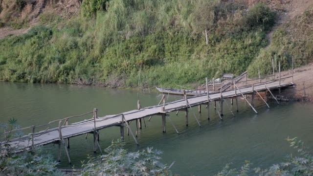 view of a small wood bridge over a small river view of a small wood bridge over a small river general view stock videos & royalty-free footage