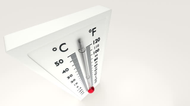 View of a thermometer from above in which the temperature gauge grows. video