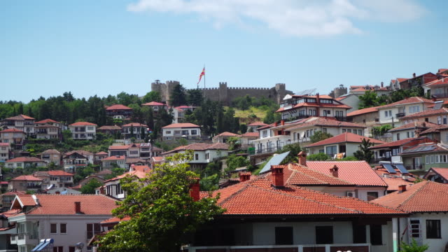 view of a typical houses situated at the edge of ohrid unesco heritage city in fyrom macedonia. - lakeshore stock videos & royalty-free footage