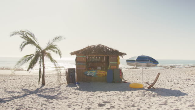 View of a wooden shed on the beach