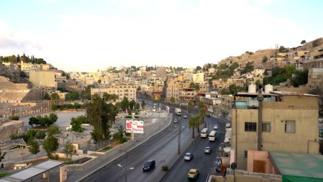 view of amman city, the capital of jordan - państwo lokalizacja geograficzna filmów i materiałów b-roll