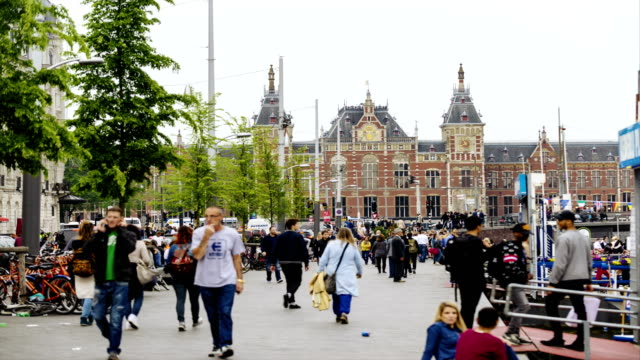 View of Amsterdam cityscape and Centraal Railway Station video