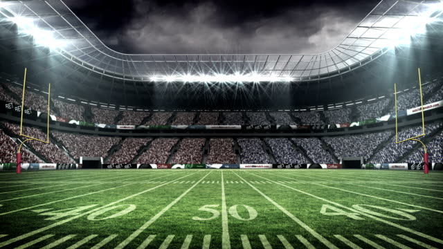 View of an american football stadium View of an american football stadium with fog football stock videos & royalty-free footage