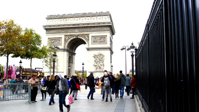 View of Arch of Triumph with tourists walking along video