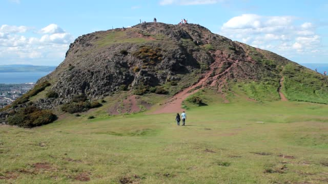View of Arthur's Seat and the sea video