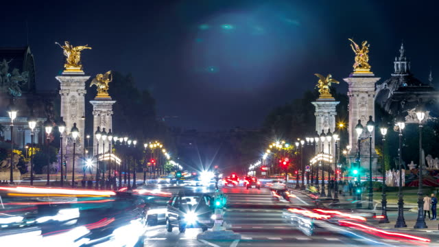 View of Avenue du Marechal Gallieni with traffic night timelapse. Paris, France video