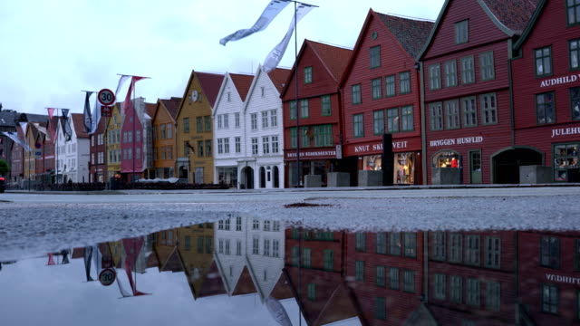 A view of Bergen, a major city in Norway. The wooden buildings form part of the Bryggen, which is a World Heritage Site - video