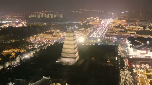 AERIAL View of Big Wild Goose Pagoda scenic spot and city skyline at night,Xi'an, Shaanxi, China