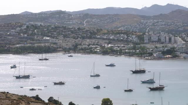 view of bodrum,gumbet - morze egejskie filmów i materiałów b-roll