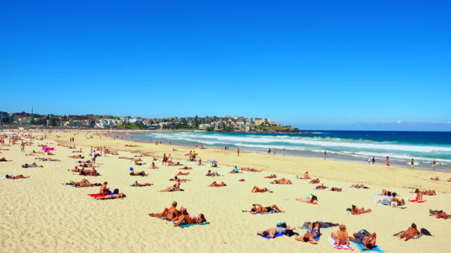 View Of Bondi Beach Or Bondi Bay At Sunny Day In Sydney People Relax At