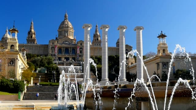 View of Catalunya National Museum of Art. Barcelona, Spain. Slow motion video