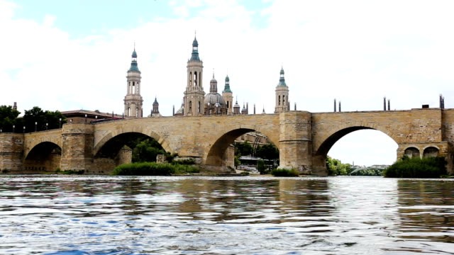 view of Cathedral in Zaragoza from Ebro river video