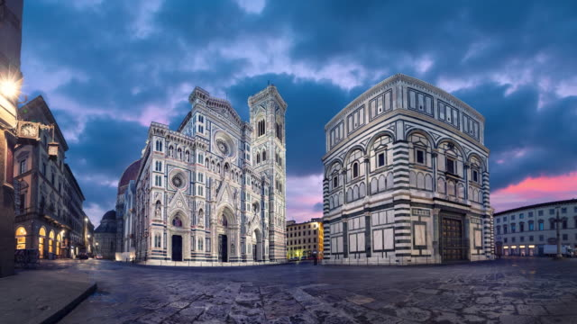 view of cathedral of santa maria del fiore, florence - gothic architecture stock videos & royalty-free footage