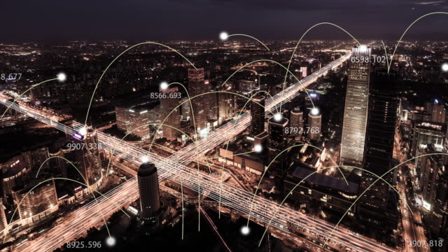 T/L WS PAN View of City Network of Beijing Skyline, from Day to Night