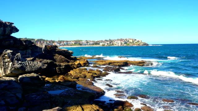 view of coastline Bondi to Tamarama walk, Sydney video