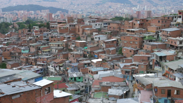View of Comuna 13 neighborhood in Medellin with city center in background