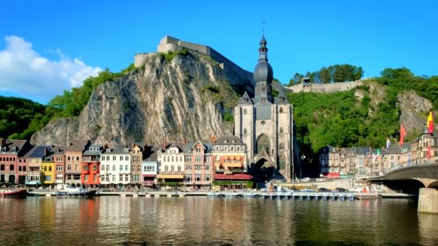 view of dinant town, belgium - belgio video stock e b–roll